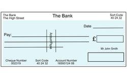 Chèque britannique blanc Photos stock