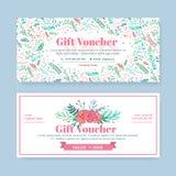 Chèque-cadeaux con las flores pintadas delicadas en estilo del boho libre illustration