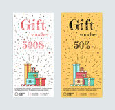 Chèque-cadeaux con los regalos stock de ilustración