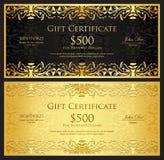 Chèque-cadeaux d'or de luxe dans le style de vintage