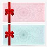 Chèque-cadeaux (vale, cupón). Arco, guilloquis Fotografía de archivo libre de regalías