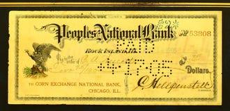 Chèque de banque Image stock