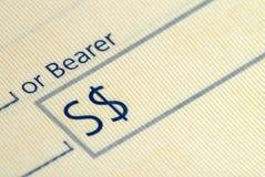 Chèque de côté Photographie stock libre de droits