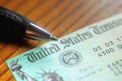 Chèque du trésor des Etats-Unis Photographie stock libre de droits