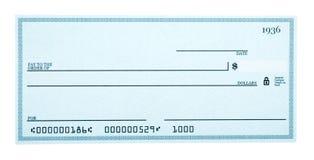 Chèque en blanc d'isolement sur le blanc image stock