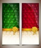 Chèques-cadeau vert-rouges abstraits Images libres de droits