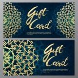 Chèques-cadeaux d'or dans le style arabe illustration libre de droits