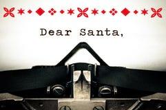 Chère lettre de list d'envie de Santa Image stock