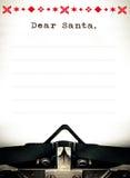 Chère Santa, lettre de list d'envie de machine à écrire Images libres de droits