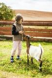 Chèvre alimentante de fille Images stock
