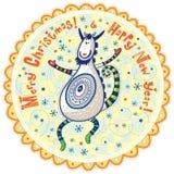 Chèvre décorative, bonne année et Joyeux Noël ! Image stock