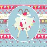 Chèvre d'illustration de Noël avec une guirlande Photographie stock