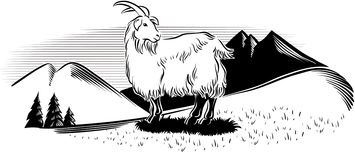 Chèvre en montagne illustration de vecteur