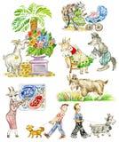 Chèvres drôles de dessin animé illustration libre de droits