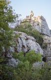 Chèvres sauvages sur les roches de Torcal Photographie stock libre de droits