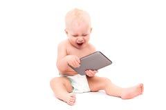 Chéri avec la tablette digitale Image stock
