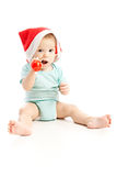 Chéri avec le chapeau rouge de Noël Photo libre de droits