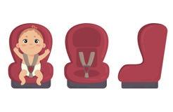 Chéri dans le siège de véhicule Latéral et avant de la chaise de sécurité Photo stock
