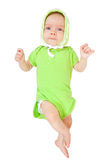 chéri de 2 mois dans l'onesie vert Image libre de droits