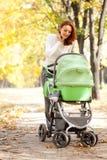 Chéri de transport de jeune mère en stationnement d'automne Photographie stock libre de droits