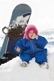Chéri et panneau de neige Photographie stock libre de droits