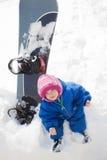 Chéri et panneau de neige Images libres de droits