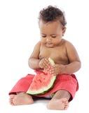 Chéri mangeant la pastèque Photographie stock libre de droits