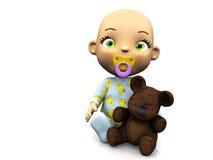 Chéri mignonne de dessin animé retenant un ours de nounours. Image libre de droits