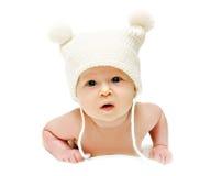 Chéri nouveau-née dans le capuchon image stock