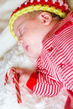 Chéri nouveau-née de Noël Photos libres de droits