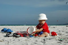 Chéri sur la plage Photographie stock