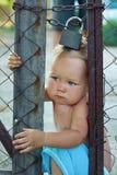 Chéri verrouillée essayant de s'échapper par la clôture de fil Images libres de droits