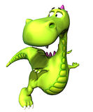 Chéri volante Dino de dragon vert illustration stock