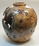 Chêne Burl Vessel Vase Turned sur le tour en bois Image stock