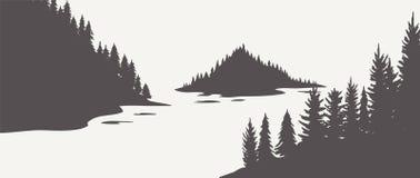 Chênes de silhouette de chêne, silhouettes noires et blanches sur le fond blanc Vecteur illustration de vecteur