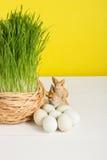 Chíbese el pote con los huevos de codornices en el tablero blanco y el fondo amarillo Foco selectivo, imagen entonada, efecto de  Fotografía de archivo