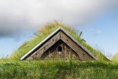 Chíbese el tejado cubierto de la casa del césped de Icelanding fotos de archivo