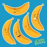 Chłodno banan z różnymi emocjami Zdjęcia Stock