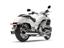 Chłodno biały potężny motocykl - ogonu widok Zdjęcia Royalty Free