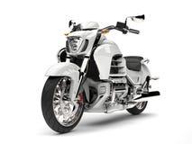 Chłodno biały potężny motocykl - piękno strzał Obrazy Stock