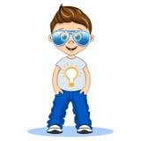 Chłodno chłopiec z lotników eyeglasses w koszulce i cajgach Wektor kreskówki odosobniona ilustracja Zdjęcia Royalty Free