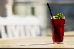 Chłodno czerwona herbata z mennicą i lodem fotografia stock