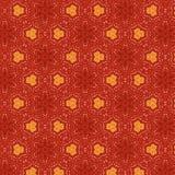 Chłodno czerwony kwiecisty textured bezszwowy wzór z pomarańczowymi elementami w symetrycznym projekcie ilustracji
