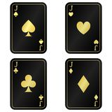 Chłodno Cztery dźwigarki karty Czerń z złocistymi kartami ilustracji