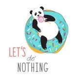 Chłodno druk dla pocztówek lub majcher, koszulki Panda na wyśmienicie pączku liże lizaka Typograficzny slogan pozwalał my no robi royalty ilustracja