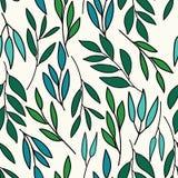 Chłodno kolory nad wszystkie liśćmi drukują bezszwowego wzór ilustracji