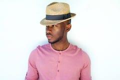 Chłodno młody czarny męski moda model z kapeluszem Zdjęcie Stock