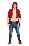 Chłodno miastowy młodego człowieka model Przystojna chłopiec z bluzą sportowa na bielu obraz royalty free