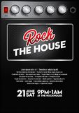 Chłodno muzyka rockowa koncerta plakatowy szablon z amplifikatoru guzikiem obrazy royalty free