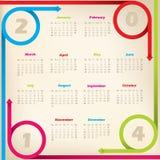 Chłodno nowy 2014 kalendarz z strzałkowatymi faborkami Zdjęcia Stock